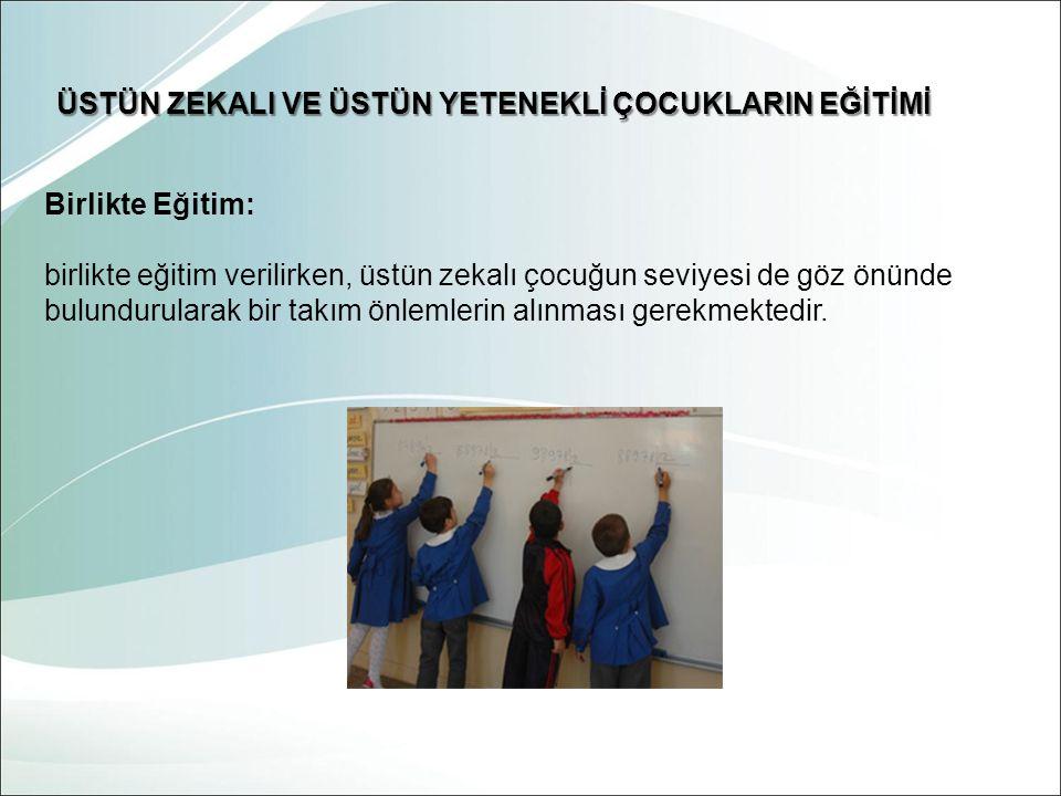 Birlikte Eğitim: birlikte eğitim verilirken, üstün zekalı çocuğun seviyesi de göz önünde bulundurularak bir takım önlemlerin alınması gerekmektedir. Ü