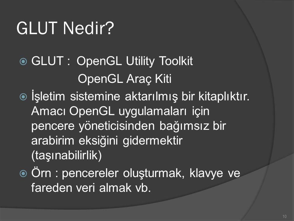 10 GLUT Nedir?  GLUT :OpenGL Utility Toolkit OpenGL Araç Kiti  İşletim sistemine aktarılmış bir kitaplıktır. Amacı OpenGL uygulamaları için pencere