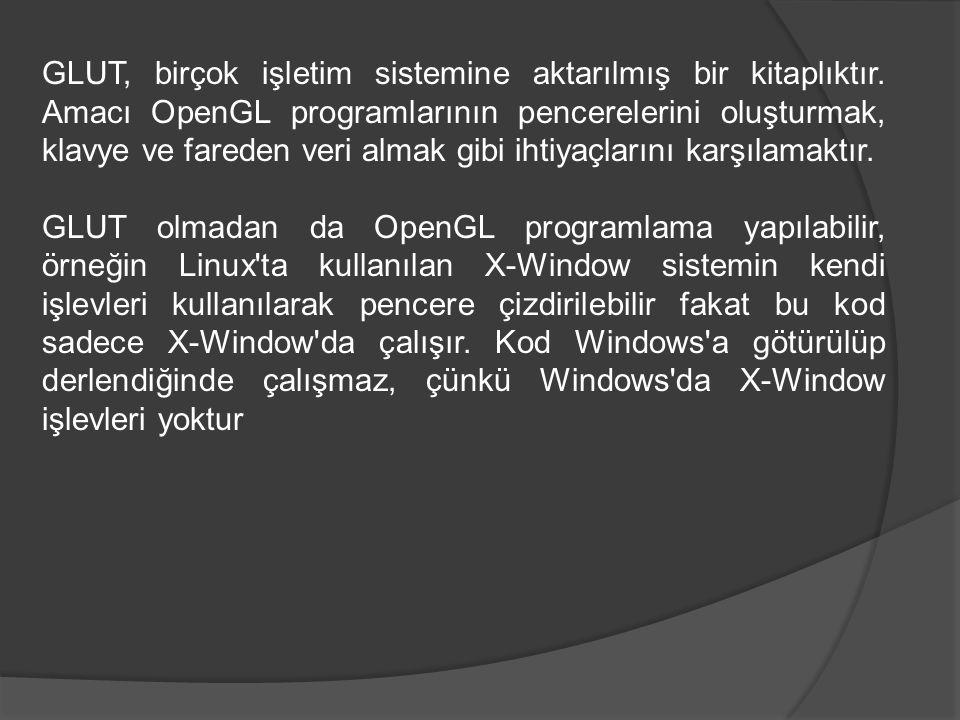 GLUT, birçok işletim sistemine aktarılmış bir kitaplıktır. Amacı OpenGL programlarının pencerelerini oluşturmak, klavye ve fareden veri almak gibi iht