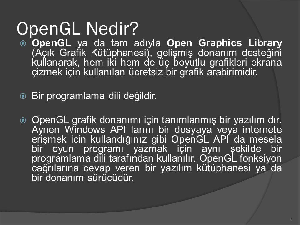 2 OpenGL Nedir?  OpenGL ya da tam adıyla Open Graphics Library (Açık Grafik Kütüphanesi), gelişmiş donanım desteğini kullanarak, hem iki hem de üç bo