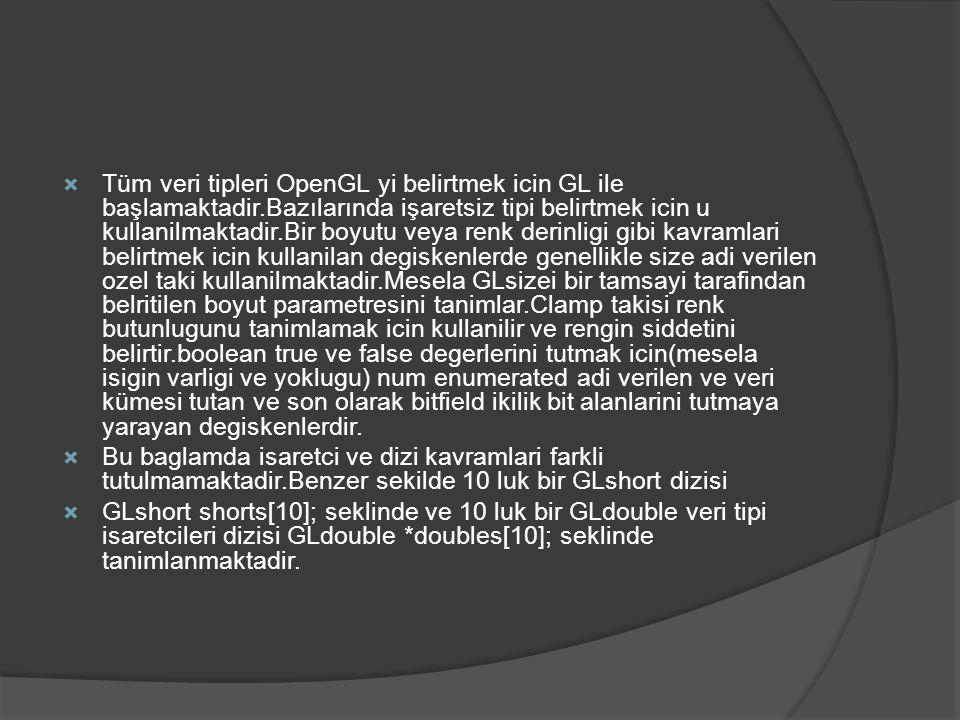  Tüm veri tipleri OpenGL yi belirtmek icin GL ile başlamaktadir.Bazılarında işaretsiz tipi belirtmek icin u kullanilmaktadir.Bir boyutu veya renk der