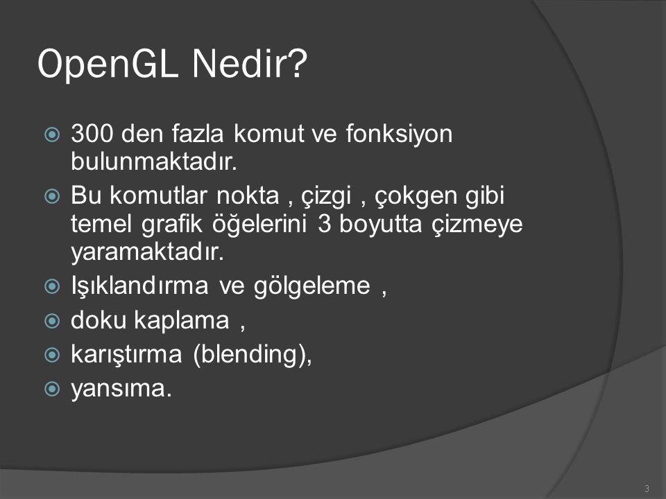 3 OpenGL Nedir?  300 den fazla komut ve fonksiyon bulunmaktadır.  Bu komutlar nokta, çizgi, çokgen gibi temel grafik öğelerini 3 boyutta çizmeye yar