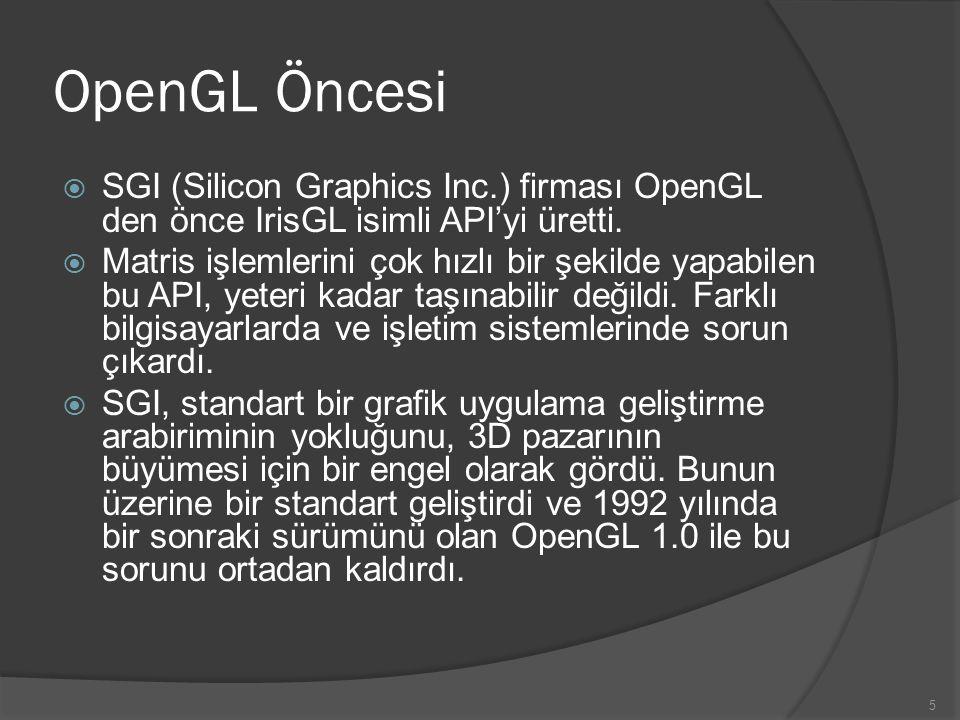 5 OpenGL Öncesi  SGI (Silicon Graphics Inc.) firması OpenGL den önce IrisGL isimli API'yi üretti.  Matris işlemlerini çok hızlı bir şekilde yapabile