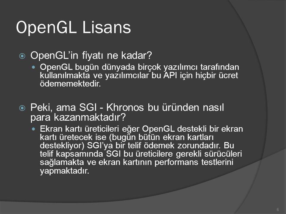 6 OpenGL Lisans  OpenGL'in fiyatı ne kadar? OpenGL bugün dünyada birçok yazılımcı tarafından kullanılmakta ve yazılımcılar bu API için hiçbir ücret ö