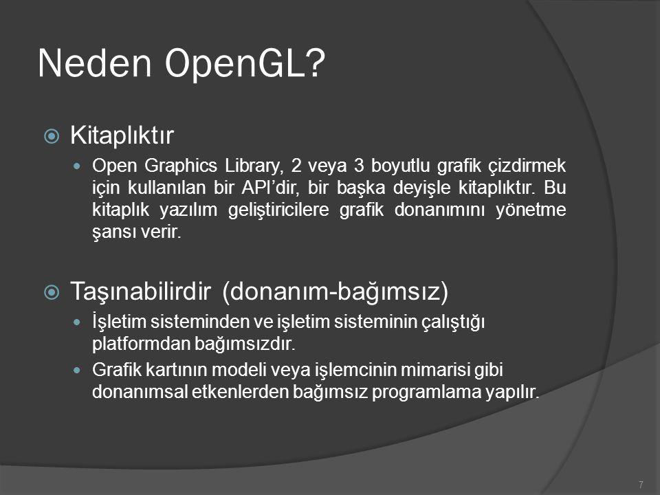 7 Neden OpenGL?  Kitaplıktır Open Graphics Library, 2 veya 3 boyutlu grafik çizdirmek için kullanılan bir API'dir, bir başka deyişle kitaplıktır. Bu