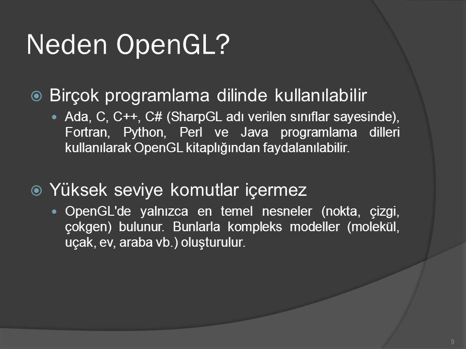 9 Neden OpenGL?  Birçok programlama dilinde kullanılabilir Ada, C, C++, C# (SharpGL adı verilen sınıflar sayesinde), Fortran, Python, Perl ve Java pr