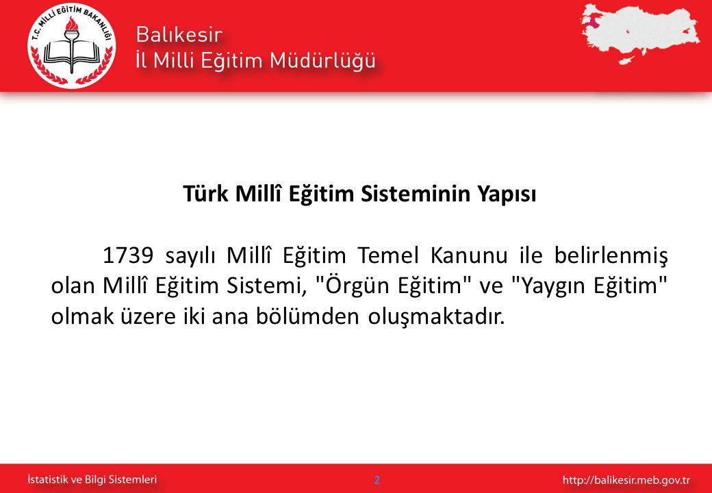 2 Türk Millî Eğitim Sisteminin Yapısı 1739 sayılı Millî Eğitim Temel Kanunu ile belirlenmiş olan Millî Eğitim Sistemi,