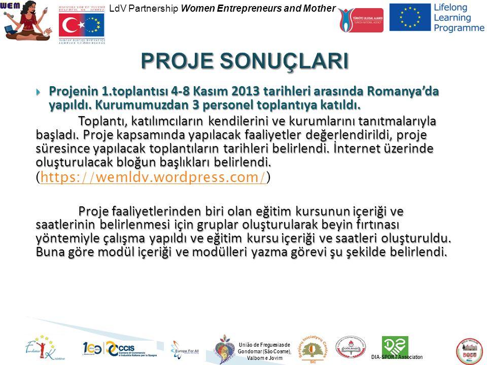 LdV Partnership Women Entrepreneurs and Mother União de Freguesias de Gondomar (São Cosme), Valbom e Jovim DIA-SPORT Association  Projenin 1.toplantısı 4-8 Kasım 2013 tarihleri arasında Romanya'da yapıldı.