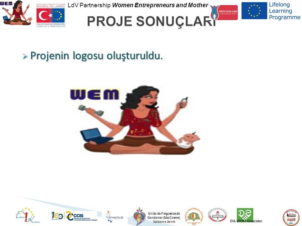 LdV Partnership Women Entrepreneurs and Mother União de Freguesias de Gondomar (São Cosme), Valbom e Jovim DIA-SPORT Association  Projenin logosu oluşturuldu.
