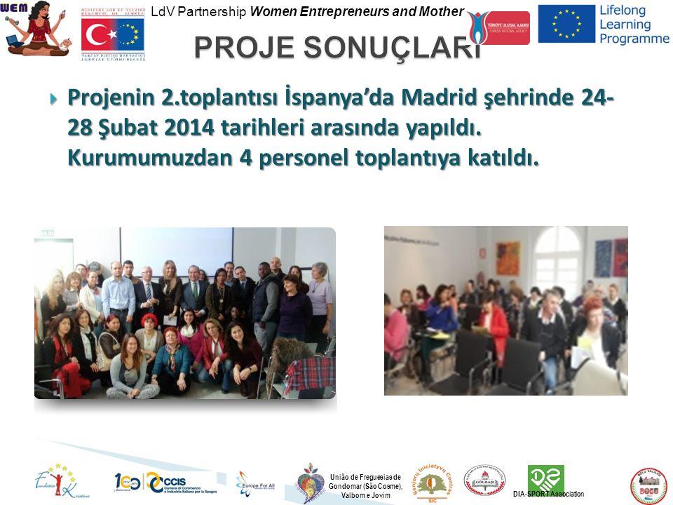 LdV Partnership Women Entrepreneurs and Mother União de Freguesias de Gondomar (São Cosme), Valbom e Jovim DIA-SPORT Association  Projenin 2.toplantısı İspanya'da Madrid şehrinde 24- 28 Şubat 2014 tarihleri arasında yapıldı.
