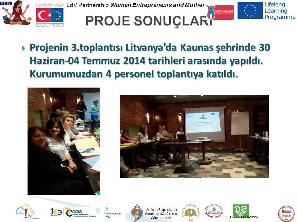 LdV Partnership Women Entrepreneurs and Mother União de Freguesias de Gondomar (São Cosme), Valbom e Jovim DIA-SPORT Association  Projenin 3.toplantısı Litvanya'da Kaunas şehrinde 30 Haziran-04 Temmuz 2014 tarihleri arasında yapıldı.