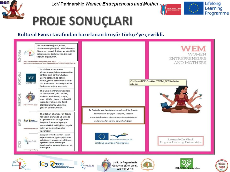 LdV Partnership Women Entrepreneurs and Mother União de Freguesias de Gondomar (São Cosme), Valbom e Jovim DIA-SPORT Association Kultural Evora tarafı
