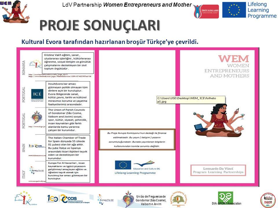 LdV Partnership Women Entrepreneurs and Mother União de Freguesias de Gondomar (São Cosme), Valbom e Jovim DIA-SPORT Association Kultural Evora tarafından hazırlanan broşür Türkçe'ye çevrildi.