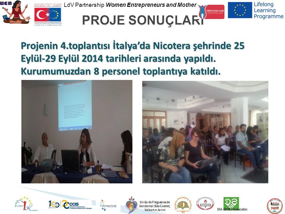 LdV Partnership Women Entrepreneurs and Mother União de Freguesias de Gondomar (São Cosme), Valbom e Jovim DIA-SPORT Association Projenin 4.toplantısı İtalya'da Nicotera şehrinde 25 Eylül-29 Eylül 2014 tarihleri arasında yapıldı.