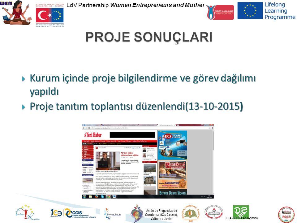 LdV Partnership Women Entrepreneurs and Mother União de Freguesias de Gondomar (São Cosme), Valbom e Jovim DIA-SPORT Association  Kurum içinde proje bilgilendirme ve görev dağılımı yapıldı  Proje tanıtım toplantısı düzenlendi(13-10-2015)