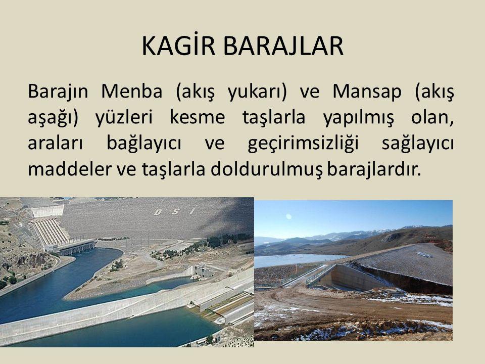 KAGİR BARAJLAR Barajın Menba (akış yukarı) ve Mansap (akış aşağı) yüzleri kesme taşlarla yapılmış olan, araları bağlayıcı ve geçirimsizliği sağlayıcı