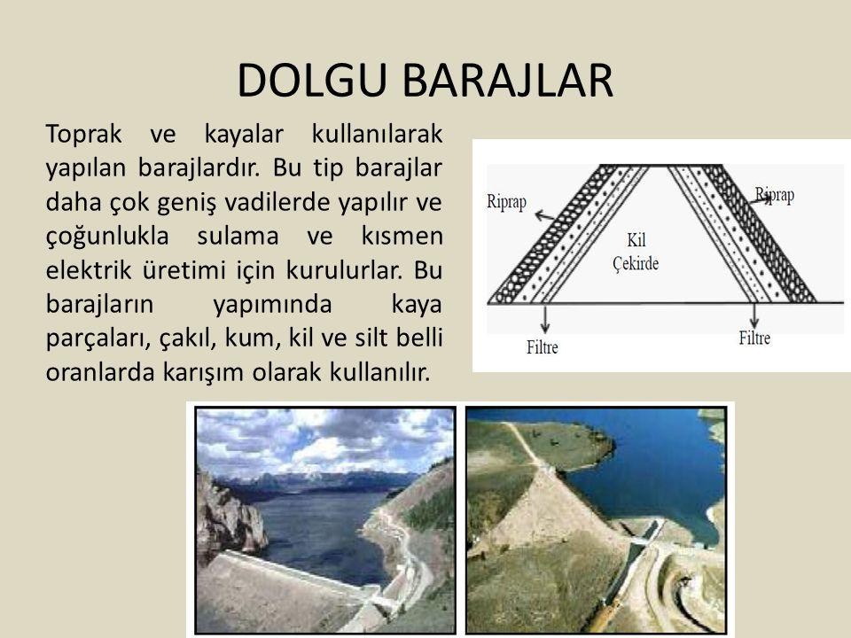 DOLGU BARAJLAR Toprak ve kayalar kullanılarak yapılan barajlardır. Bu tip barajlar daha çok geniş vadilerde yapılır ve çoğunlukla sulama ve kısmen ele