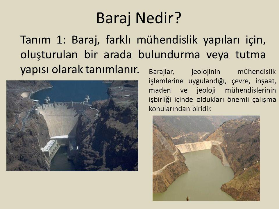 Baraj Nedir? Tanım 1: Baraj, farklı mühendislik yapıları için, oluşturulan bir arada bulundurma veya tutma yapısı olarak tanımlanır. Barajlar, jeoloji