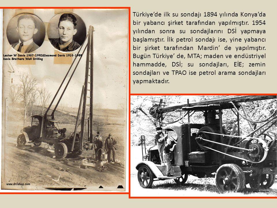 Türkiye'de ilk su sondajı 1894 yılında Konya'da bir yabancı şirket tarafından yapılmıştır. 1954 yılından sonra su sondajlarını DSİ yapmaya başlamıştır
