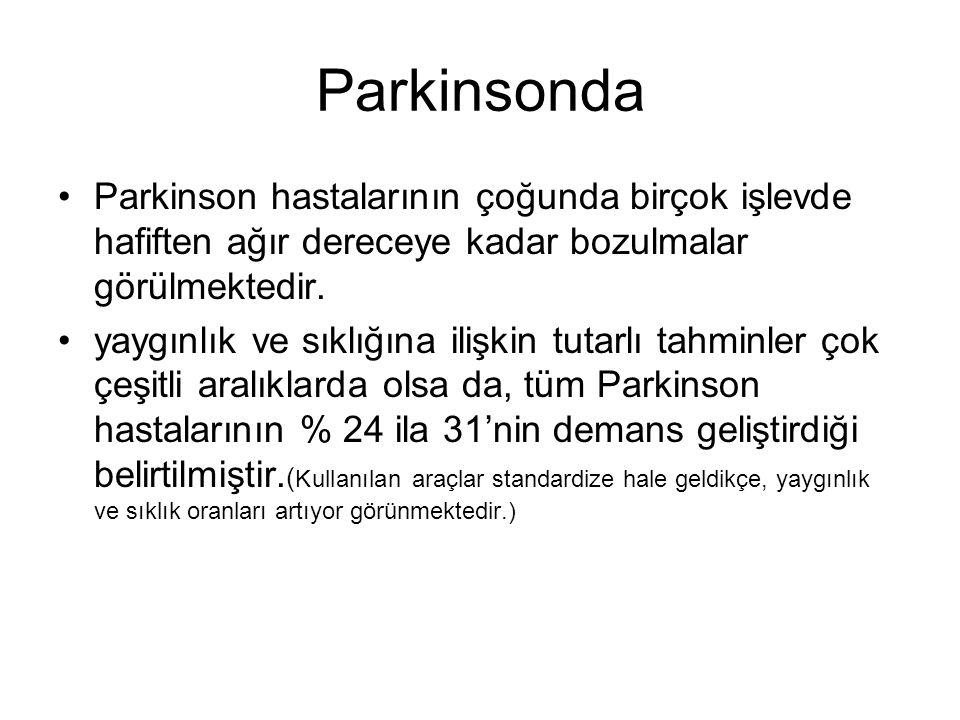 Parkinsonda Parkinson hastalarının çoğunda birçok işlevde hafiften ağır dereceye kadar bozulmalar görülmektedir.