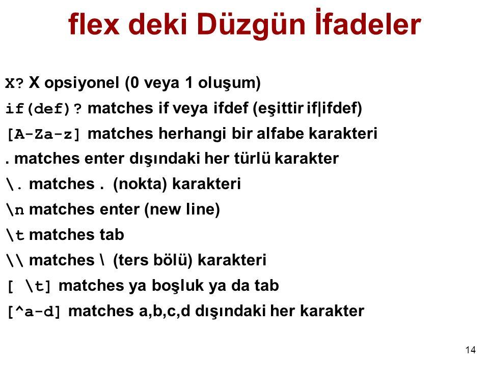 14 flex deki Düzgün İfadeler X.X opsiyonel (0 veya 1 oluşum) if(def).