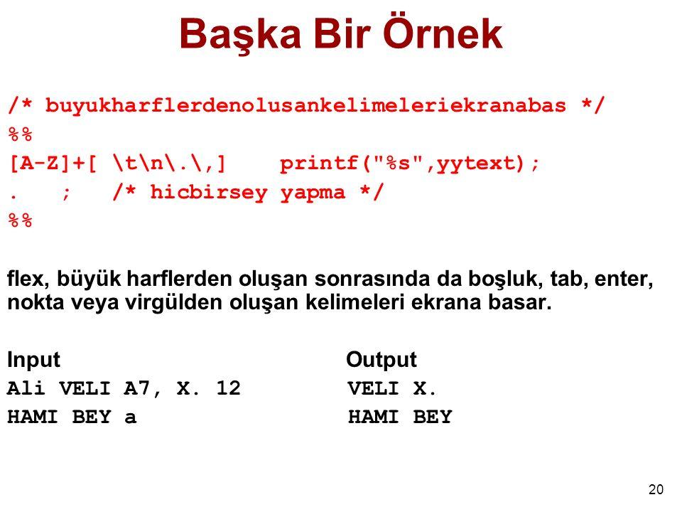 20 Başka Bir Örnek /* buyukharflerdenolusankelimeleriekranabas */ % [A-Z]+[ \t\n\.\,] printf( %s ,yytext);.