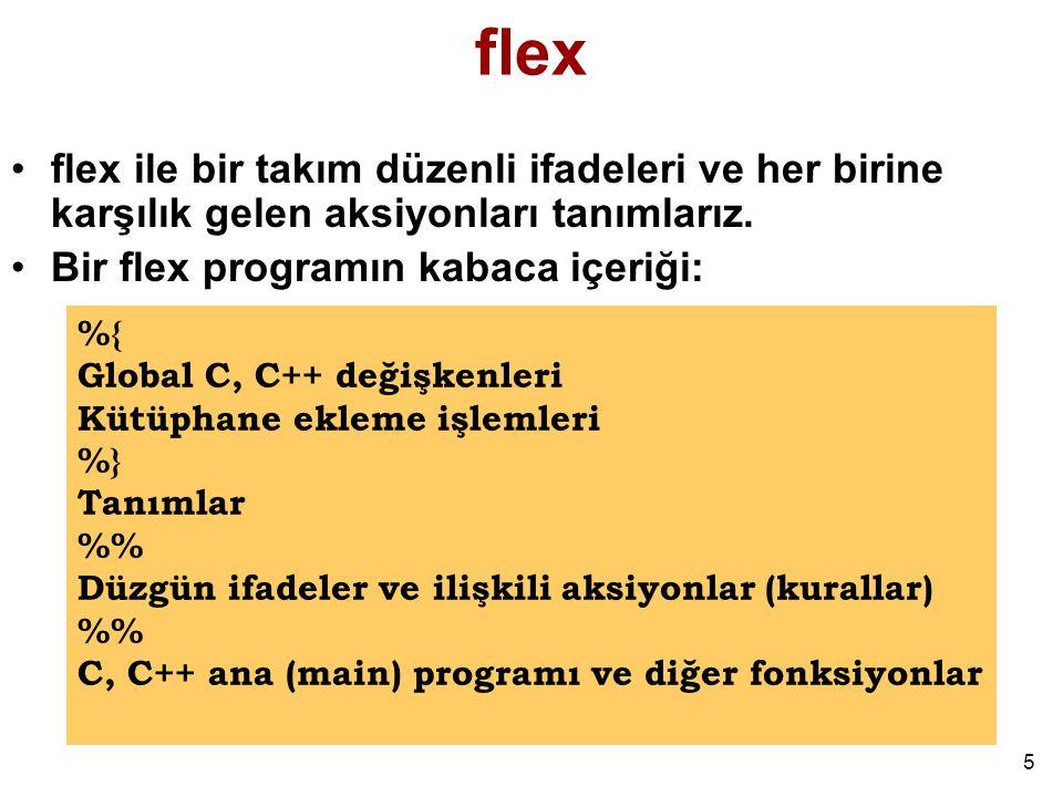 16 Biraz Daha Kompleks Bir Program (ornek4.lex) % [\t ]+ ; /* hicbirsey yapma */ monday|tuesday|wednesday|thursday|friday| saturday|sunday printf( %s is a day. ,yytext); [a-zA-Z]+ printf( ,yytext); %