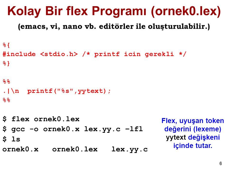 6 Kolay Bir flex Programı (ornek0.lex) (emacs, vi, nano vb.