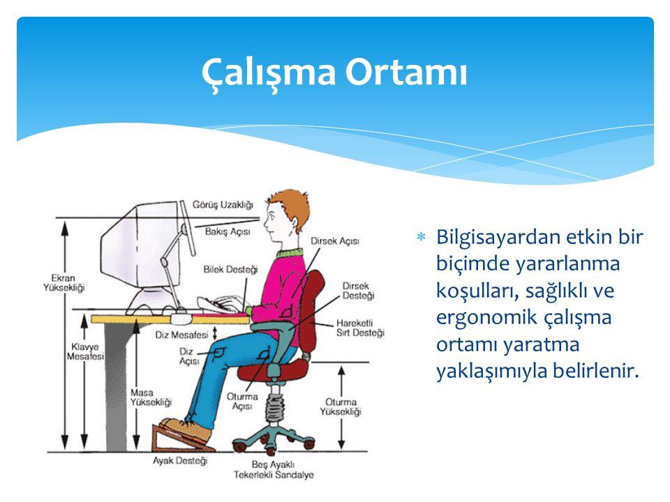 Çalışma Ortamı  Bilgisayardan etkin bir biçimde yararlanma koşulları, sağlıklı ve ergonomik çalışma ortamı yaratma yaklaşımıyla belirlenir.