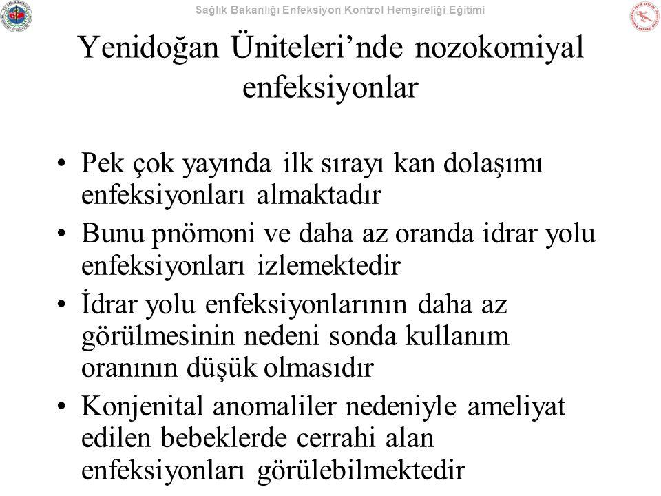 Sağlık Bakanlığı Enfeksiyon Kontrol Hemşireliği Eğitimi Yenidoğan Üniteleri'nde nozokomiyal enfeksiyonlar Pek çok yayında ilk sırayı kan dolaşımı enfe