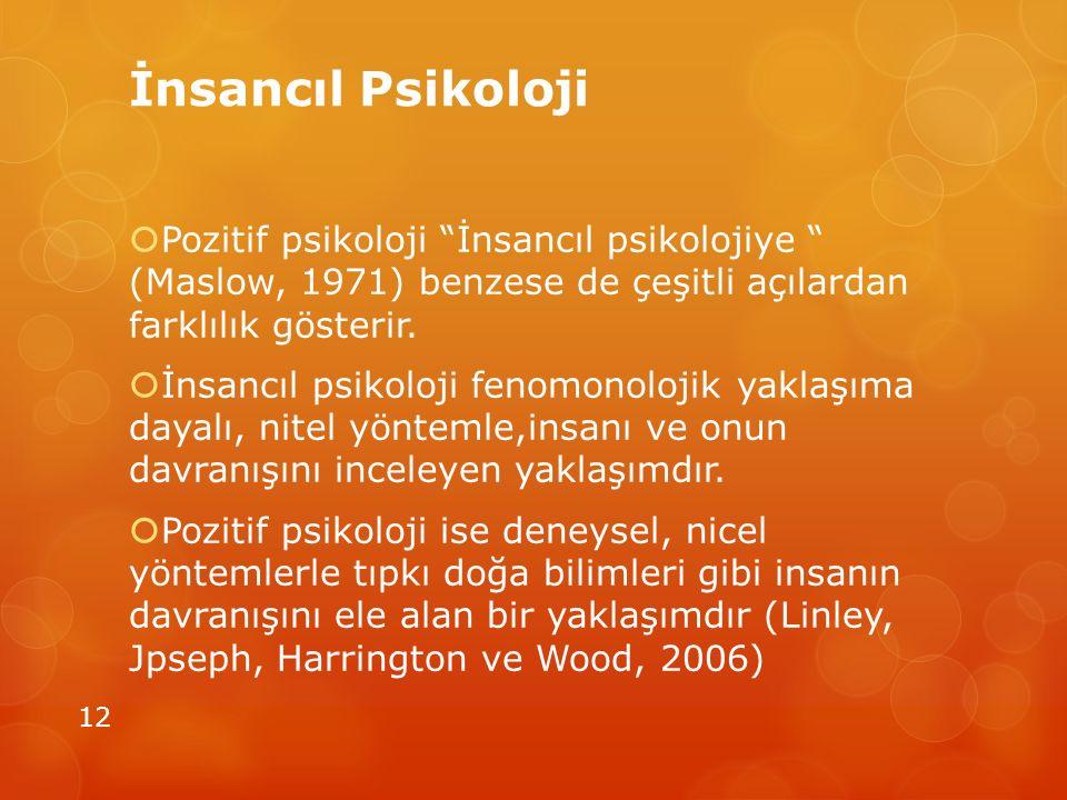 """İnsancıl Psikoloji  Pozitif psikoloji """"İnsancıl psikolojiye """" (Maslow, 1971) benzese de çeşitli açılardan farklılık gösterir.  İnsancıl psikoloji fe"""