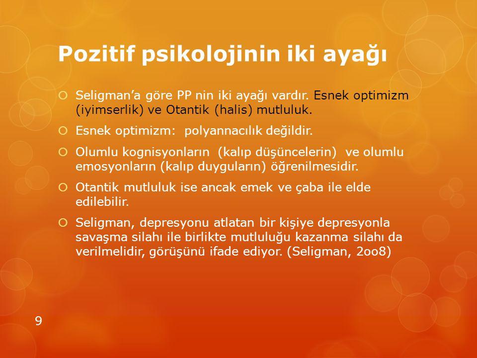 Pozitif psikolojinin iki ayağı  Seligman'a göre PP nin iki ayağı vardır. Esnek optimizm (iyimserlik) ve Otantik (halis) mutluluk.  Esnek optimizm: p