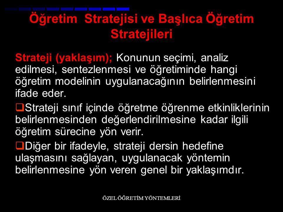 Öğretim Stratejisi ve Başlıca Öğretim Stratejileri Strateji (yaklaşım); Konunun seçimi, analiz edilmesi, sentezlenmesi ve öğretiminde hangi öğretim mo