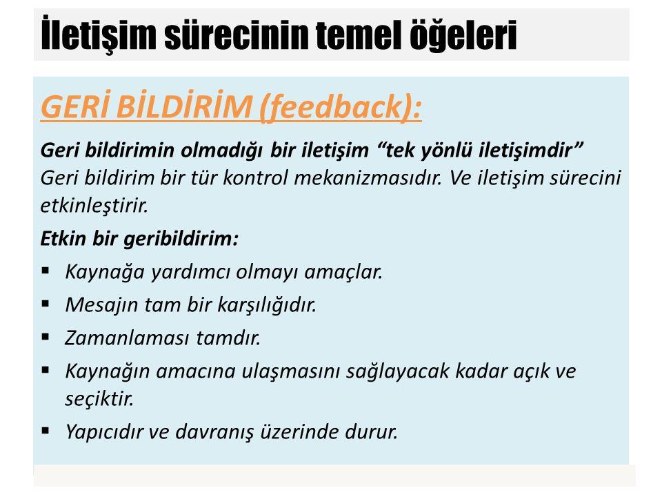 """GERİ BİLDİRİM (feedback): Geri bildirimin olmadığı bir iletişim """"tek yönlü iletişimdir"""" Geri bildirim bir tür kontrol mekanizmasıdır. Ve iletişim süre"""