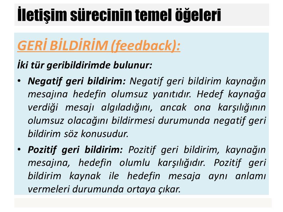 GERİ BİLDİRİM (feedback): İki tür geribildirimde bulunur: Negatif geri bildirim: Negatif geri bildirim kaynağın mesajına hedefin olumsuz yanıtıdır. He
