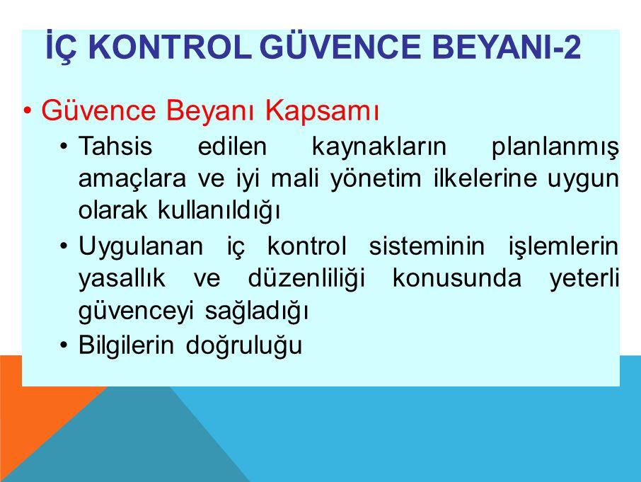 İÇ KONTROL GÜVENCE BEYANI-2 Güvence Beyanı Kapsamı Tahsis edilen kaynakların planlanmış amaçlara ve iyi mali yönetim ilkelerine uygun olarak kullanıldığı Uygulanan iç kontrol sisteminin işlemlerin yasallık ve düzenliliği konusunda yeterli güvenceyi sağladığı Bilgilerin doğruluğu