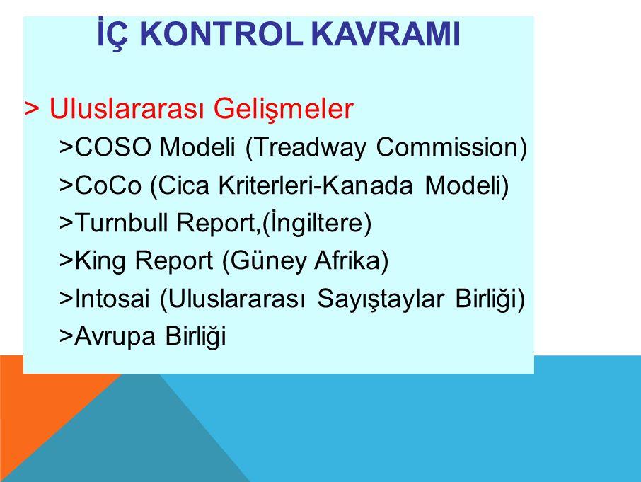 İÇ KONTROL KAVRAMI > Uluslararası Gelişmeler >COSO Modeli (Treadway Commission) >CoCo (Cica Kriterleri-Kanada Modeli) >Turnbull Report,(İngiltere) >King Report (Güney Afrika) >Intosai (Uluslararası Sayıştaylar Birliği) >Avrupa Birliği