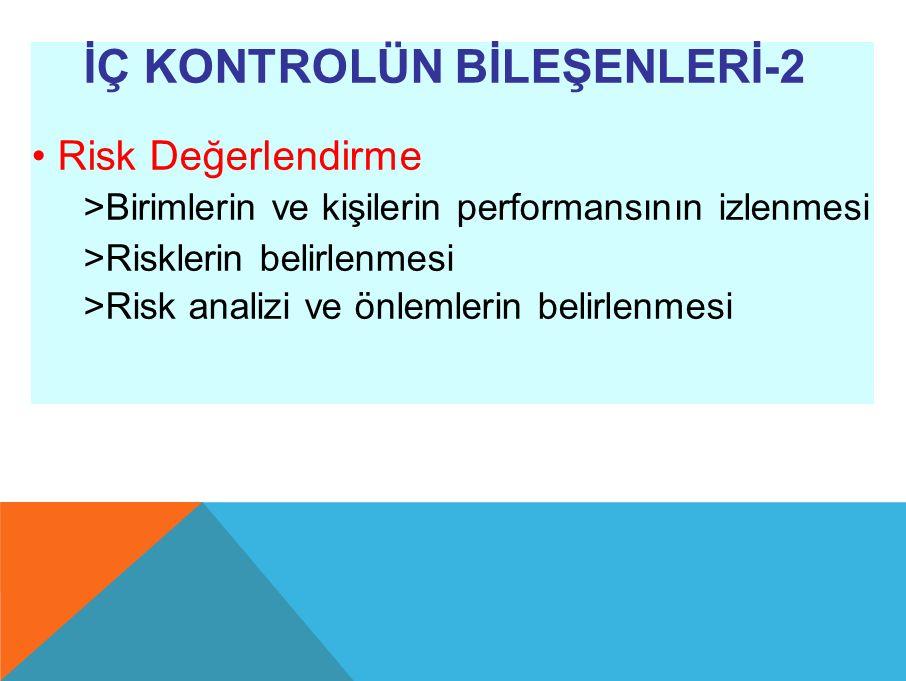 İÇ KONTROLÜN BİLEŞENLERİ-2 Risk Değerlendirme >Birimlerin ve kişilerin performansının izlenmesi >Risklerin belirlenmesi >Risk analizi ve önlemlerin belirlenmesi