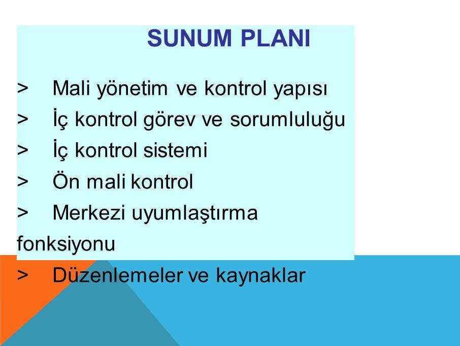 SUNUM PLANI > Mali yönetim ve kontrol yapısı > İç kontrol görev ve sorumluluğu > İç kontrol sistemi > Ön mali kontrol > Merkezi uyumlaştırma fonksiyonu > Düzenlemeler ve kaynaklar