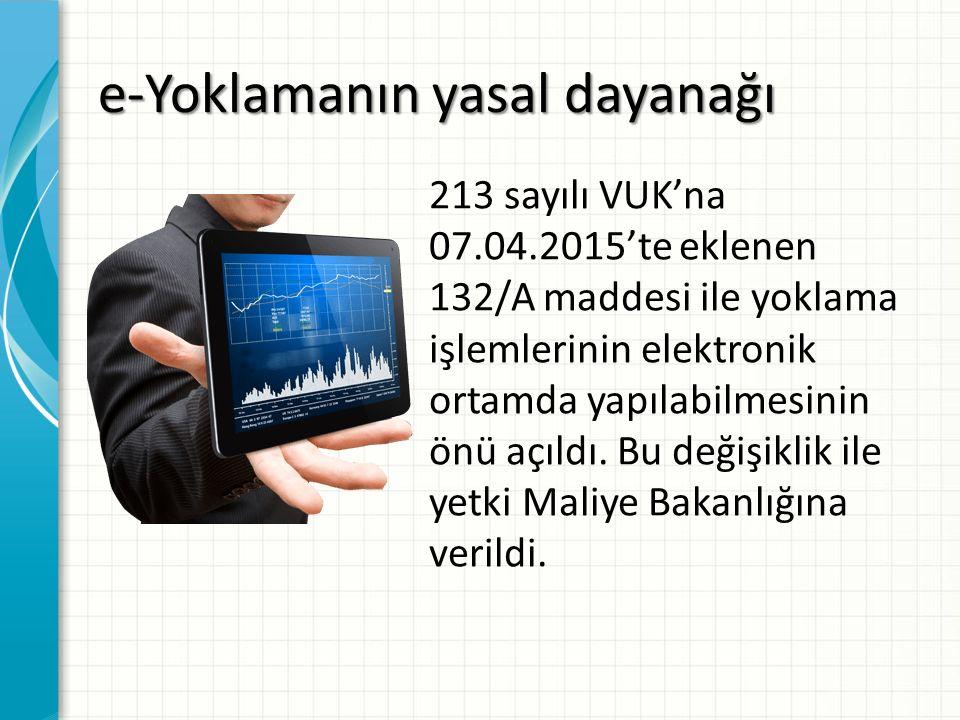 e-Yoklamanın yasal dayanağı 213 sayılı VUK'na 07.04.2015'te eklenen 132/A maddesi ile yoklama işlemlerinin elektronik ortamda yapılabilmesinin önü açı
