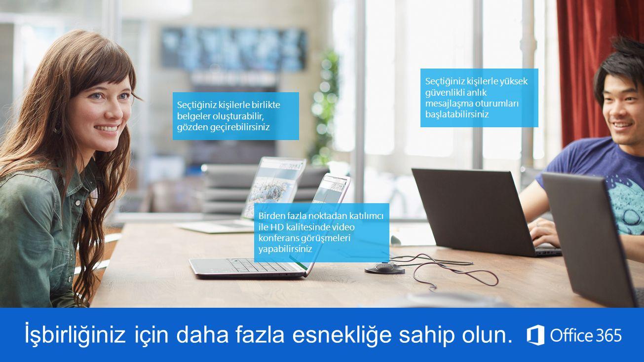 Seçtiğiniz kişilerle yüksek güvenlikli anlık mesajlaşma oturumları başlatabilirsiniz Birden fazla noktadan katılımcı ile HD kalitesinde video konferan