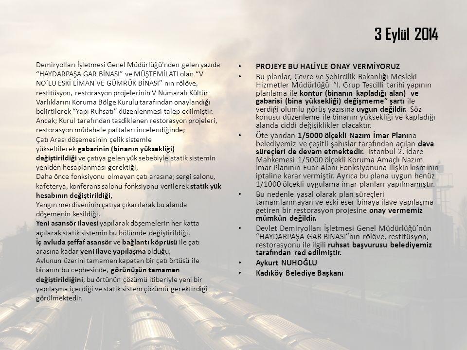 3 Eylül 2014 PROJEYE BU HALİYLE ONAY VERMİYORUZ Bu planlar, Çevre ve Şehircilik Bakanlığı Mesleki Hizmetler Müdürlüğü I.