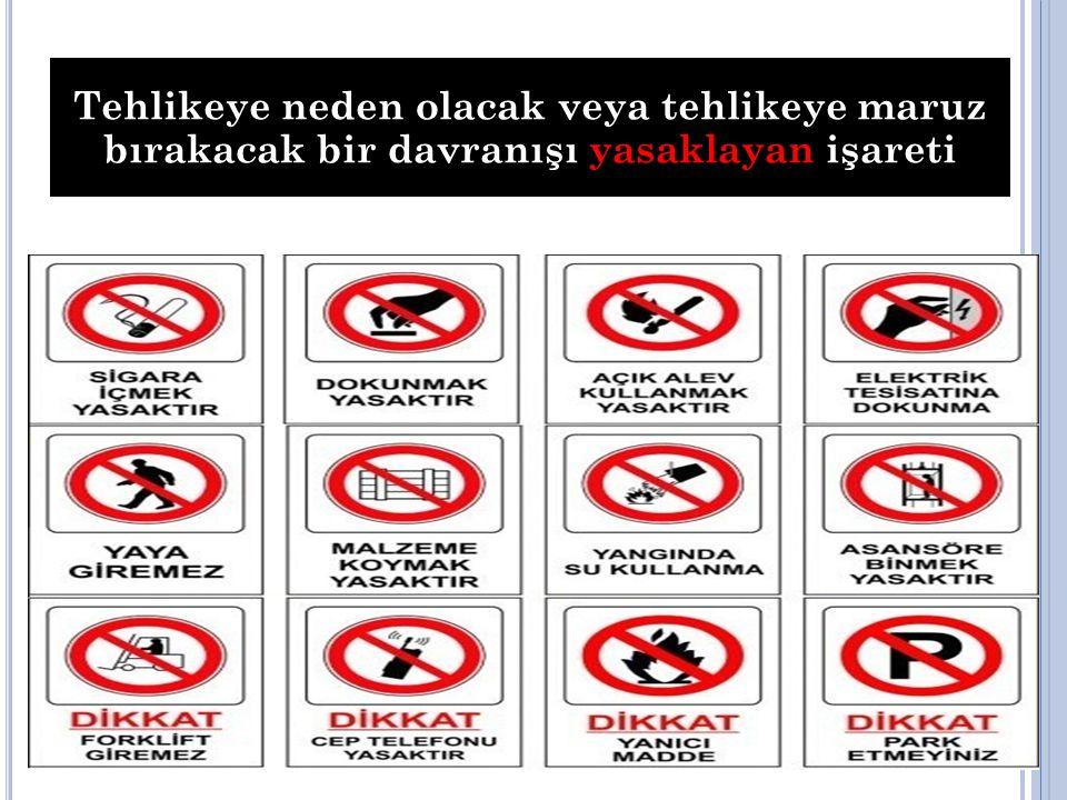 Tehlikeye neden olacak veya tehlikeye maruz bırakacak bir davranışı yasaklayan işareti