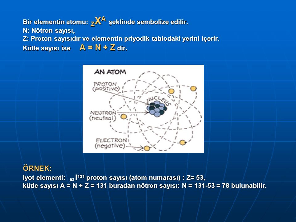 ATOM ÇEŞİTLERİ Proton sayısı (Z) Kütle sayısı (A) Nötron sayısı (N) Kimyasal özelliği Örnek İZOTOPAYNIFarklıFarklıAYNI 1 H 1 ve 1 H 2 İZOBARFarklıAYNIFarklıFarklı 5 B 12 ve 6 O 12 İZOTONFarklıFarklıAYNIFarklı 5 B 11 ve 6 C 12 İZOMERÇekirdekİçindekisayılarAYNI 43 Tc 99 ve 43 Tc 99 m
