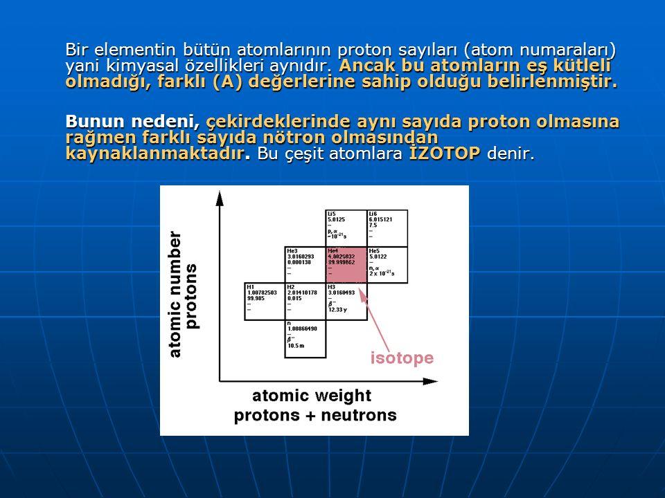 ÖRNEK: Hidrojenin 3 izotopu vardır.