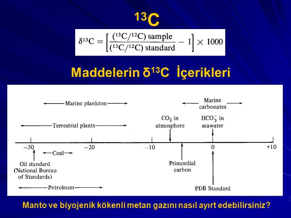 Maddelerin δ 13 C İçerikleri 13 C Manto ve biyojenik kökenli metan gazını nasıl ayırt edebilirsiniz?