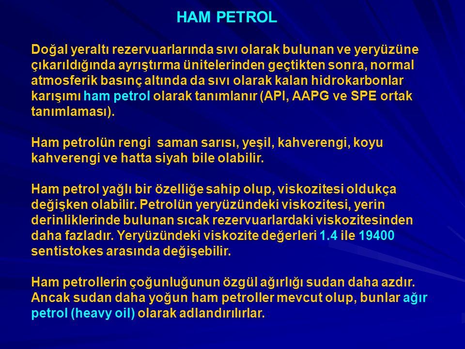 HAM PETROL Doğal yeraltı rezervuarlarında sıvı olarak bulunan ve yeryüzüne çıkarıldığında ayrıştırma ünitelerinden geçtikten sonra, normal atmosferik basınç altında da sıvı olarak kalan hidrokarbonlar karışımı ham petrol olarak tanımlanır (API, AAPG ve SPE ortak tanımlaması).