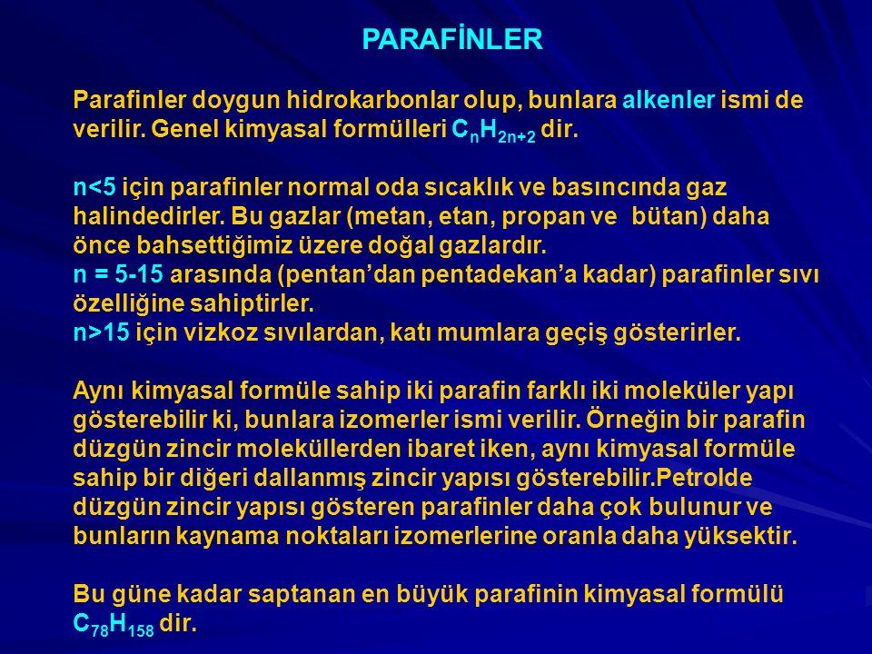 PARAFİNLER Parafinler doygun hidrokarbonlar olup, bunlara alkenler ismi de verilir. Genel kimyasal formülleri C n H 2n+2 dir. n<5 için parafinler norm