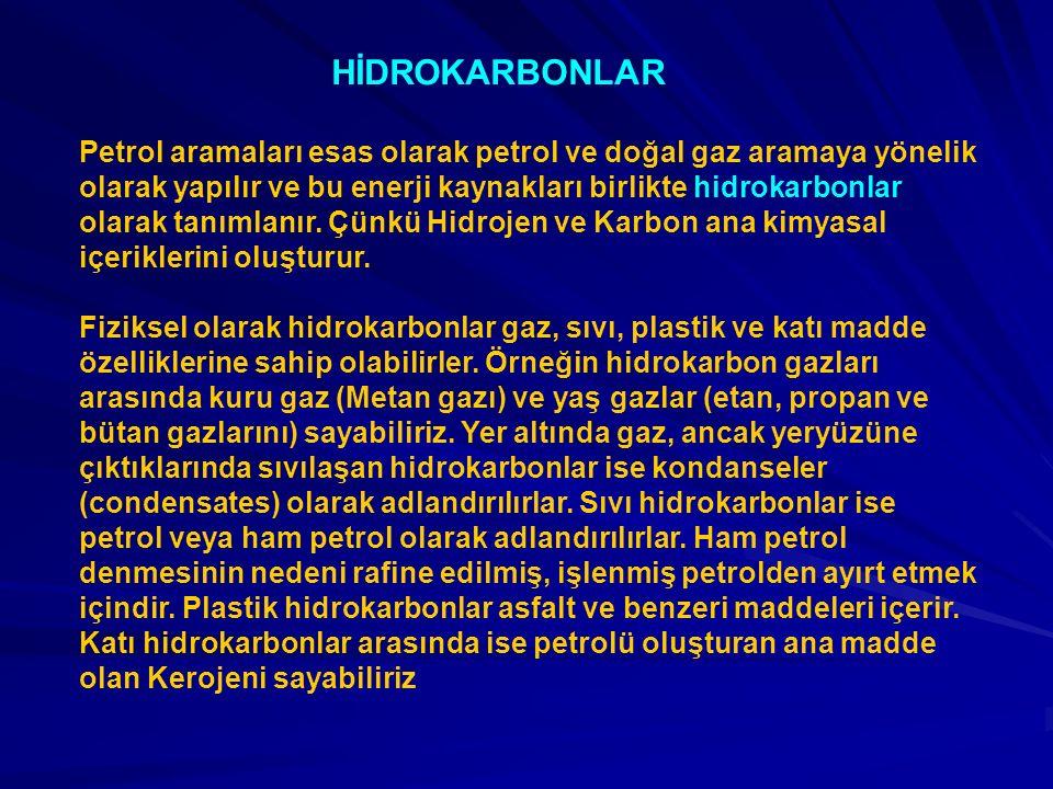 HİDROKARBONLAR Petrol aramaları esas olarak petrol ve doğal gaz aramaya yönelik olarak yapılır ve bu enerji kaynakları birlikte hidrokarbonlar olarak tanımlanır.