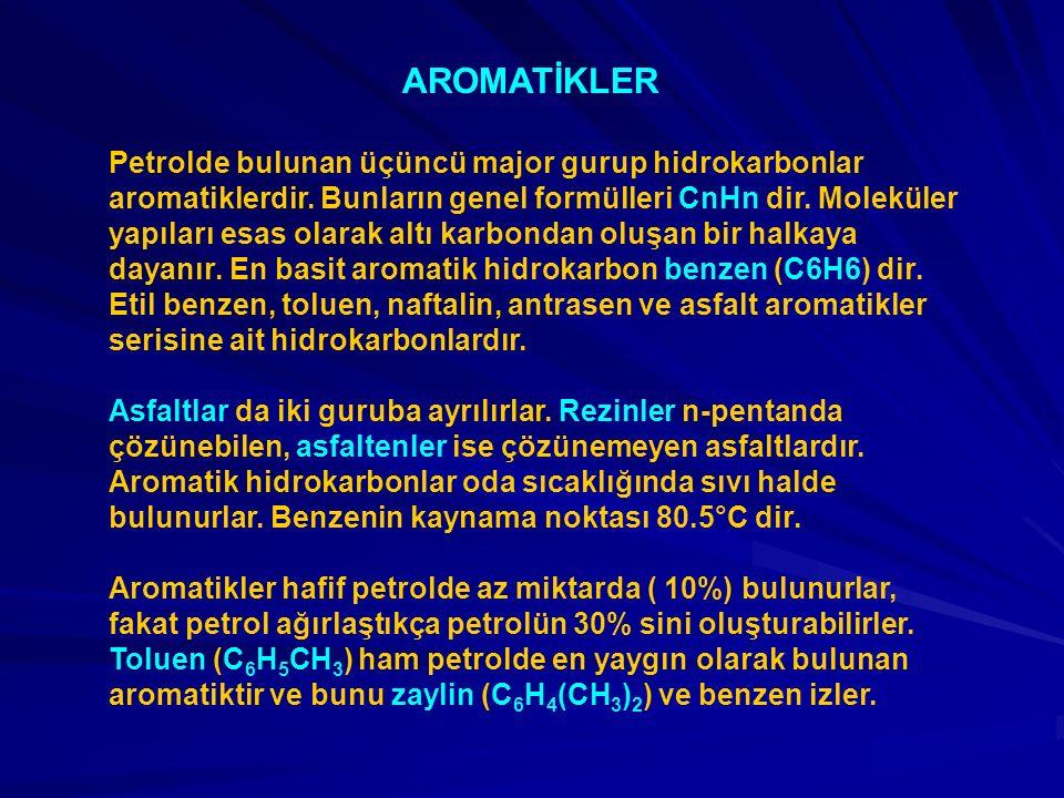 AROMATİKLER Petrolde bulunan üçüncü major gurup hidrokarbonlar aromatiklerdir. Bunların genel formülleri CnHn dir. Moleküler yapıları esas olarak altı